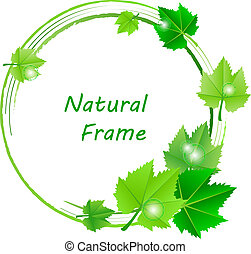 Vector frame with green leaves