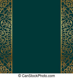 turquoise and gold ornate border - Vector turquoise gold...