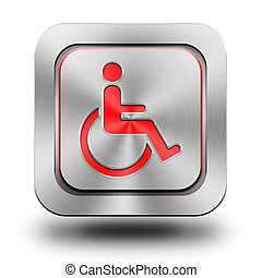 Wheelchair aluminum glossy icon, button, sign