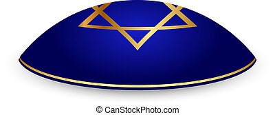 kippah with David star - Vector illustration of kippah with...