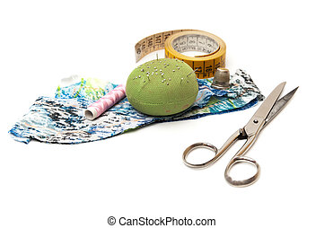 textile tools on a white background