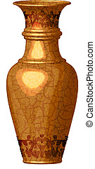 golden ornate vase - Vector illustration of golden ornate...