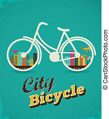 Bicycle in the city, vintage style poster - Bicycle with...