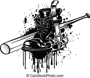 Bat, boot, knife and knuckleduster - Vector illustration...
