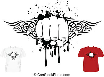 fist and tribals - Vector illustration t-shirt design fist...