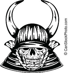 skull in samurai helmet with horns - Vector illustration...