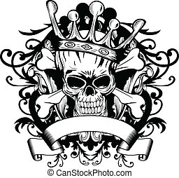 Skull with crown - Vector illustration skull with crown