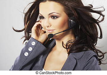 Nice hotline operator with headset