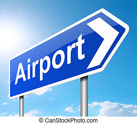 Airport sign. - Illustration depicting a sign directing to...