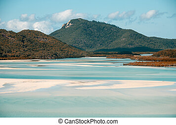Whitehaven beach lagoon at national park queensland...