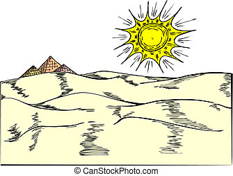 Pyramids - Egyptian pyramides on desert in vector...