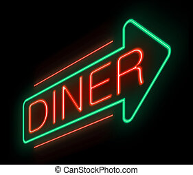 Neon diner sign. - Illustration depicting an illuminated...