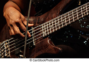 playing bass guitar in concert, detail