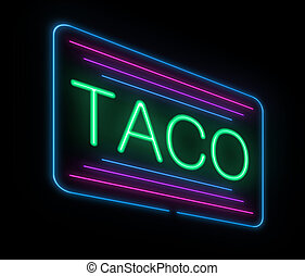 Neon taco sign - Illustration depicting an illuminated neon...