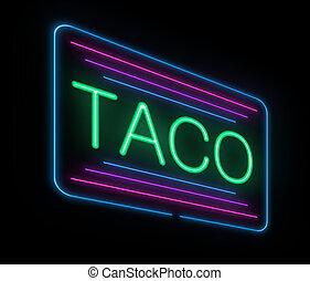Neon taco sign. - Illustration depicting an illuminated neon...
