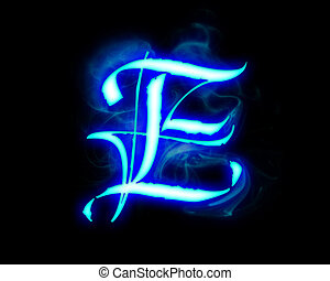 Blue flame magic font over black background Letter E