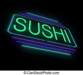 Neon sushi sign. - Illustration depicting an illuminated...