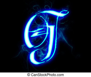 Blue flame magic font over black background Letter G