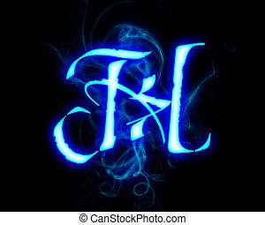 Blue flame magic font over black background. Letter H