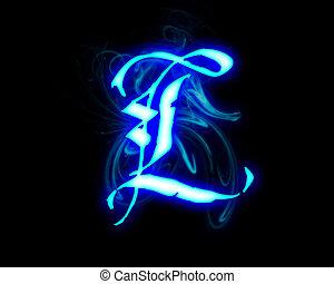 Blue flame magic font over black background. Letter L