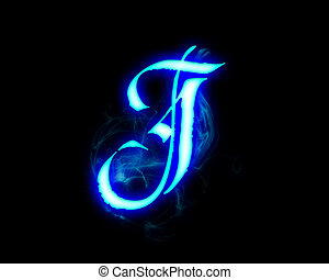 Blue flame magic font over black background. Letter J