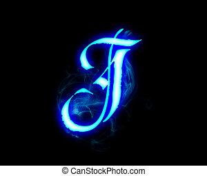 Blue flame magic font over black background. Letter J