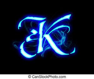Blue flame magic font over black background. Letter K