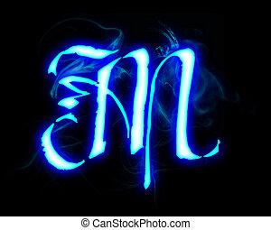 Blue flame magic font over black background. Letter M