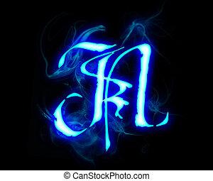 Blue flame magic font over black background. Letter N