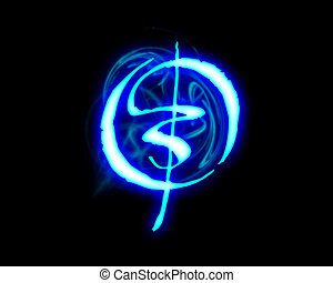 Blue flame magic font over black background Letter O