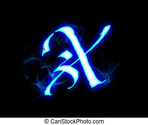 Blue flame magic font over black background. Letter X