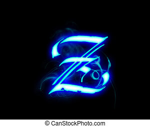 Blue flame magic font over black background Letter Z