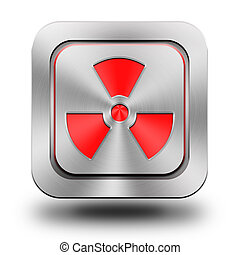 Radioactive aluminum glossy icon, button, sign - Phone...