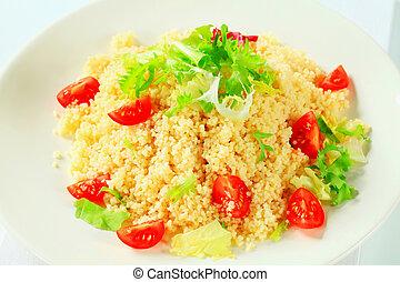 Couscous, ensalada, verde, tomates