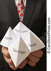 origami fortune teller - Business man holding paper origami...