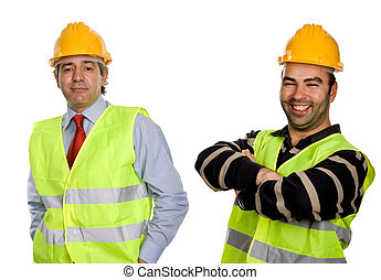 workers - happy workers with yellow hat, in a white...