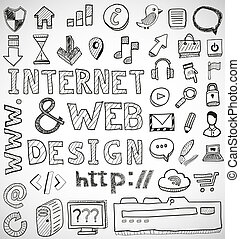 Internet and web design hand drawn doodles - Internet and...
