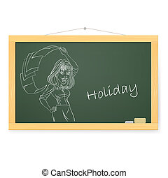 Blackboard with business woman and Holiday. Illustration on...