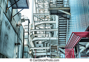 Coal-fired power plants within the stairs and pipes
