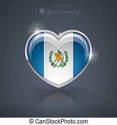 Guatemala - Glossy heart shape flags of the Worlds: Republic...