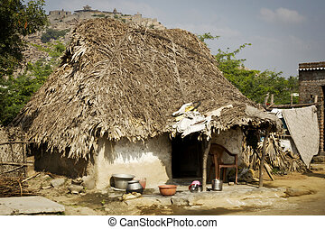 Typical indian clay buildings in village near Tiruvanamalai,...