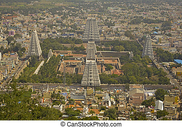 City view of city and Big temple in Tiruvanumalai,...