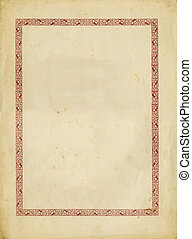 Antique paper with decorative frame and torn edges