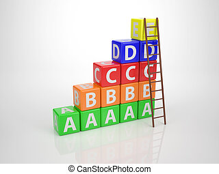 Tower out of Letters with Ladder - Series Letterdices