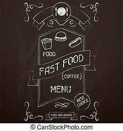 Fast food on the restaurant menu chalkboard.