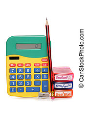 eductaion equipment - calculator and pencil studio cutout