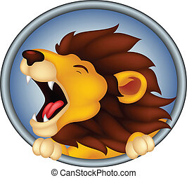 lion, roaring, cartoon, animal, he - vector illustration of...