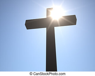 Christian Cross in front of Sun