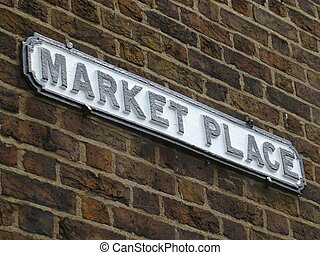 Market Place Sign - Black and white market place street sign...