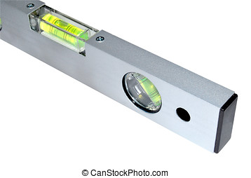 Spirit level - Metallic spirit level isolated over the...